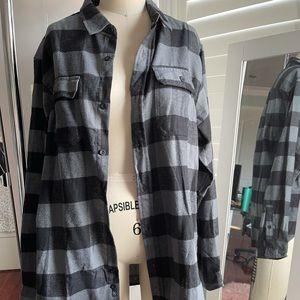 Burnside Men's Plaid Grey Button Down Shirt Size L